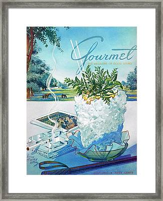 Gourmet Cover Illustration Of Mint Julep Packed Framed Print by Henry Stahlhut