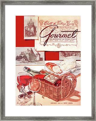 Gourmet Cover Of A Bottle Of Bordeaux Framed Print