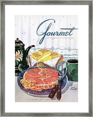 Gourmet Cover Of Ham And Cornbread Framed Print