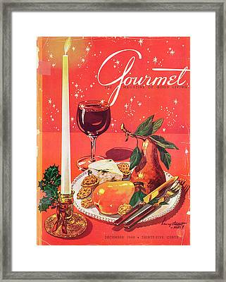 Gourmet Cover Of Pears By A Candle Framed Print by Henry Stahlhut