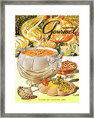 Gourmet Cover Of Pumpkin Soup Framed Print by Henry Stahlhut