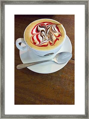 Gourmet Latte With Red And Brown Swirls Framed Print