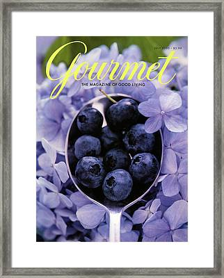 Gourmet Magazine Cover Blueberries On Silver Spoon Framed Print by Jim Franco