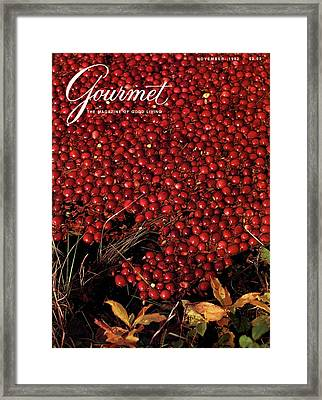 Gourmet Magazine Cover Featuring Cranberries Framed Print by Lans Christensen