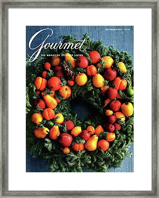 Gourmet Magazine Cover Featuring Marzipan Wreath Framed Print by Romulo Yanes