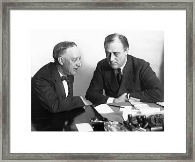 Gov. Al Smith And Roosevelt Framed Print by Underwood Archives