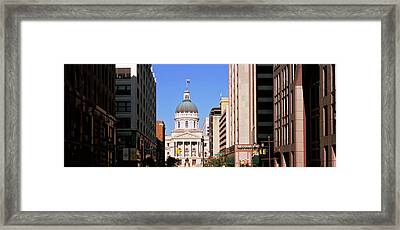Government Building In A City, Indiana Framed Print