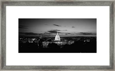 Government Building Lit Up At Night, Us Framed Print