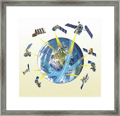 Gpm Satellite Constellation Framed Print by Nasa/goddard