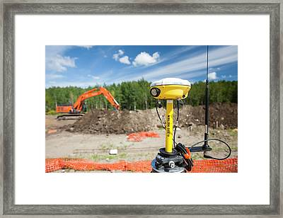 Gps Theodolite New House Building Framed Print by Ashley Cooper