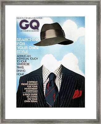 Gq Cover Featuring A Clothes On Top Framed Print by  Victor Valla & Eric Meola