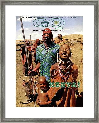 Gq Cover Featuring A Group Of Massai People Framed Print