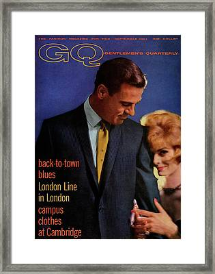 Gq Cover Featuring A Male And Female Model Framed Print by Richard Waite