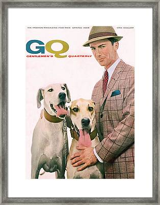 Gq Cover Featuring A Male Model With Dogs Framed Print by Emme Gene Hall