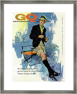 Gq Cover Featuring An Illustration Of A Man Framed Print by Howard Terpning