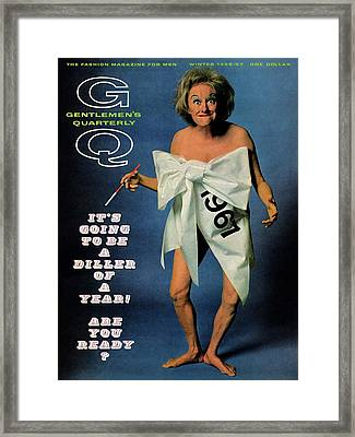 Gq Cover Featuring Comedienne Phyllis Diller Framed Print by Carl Fischer