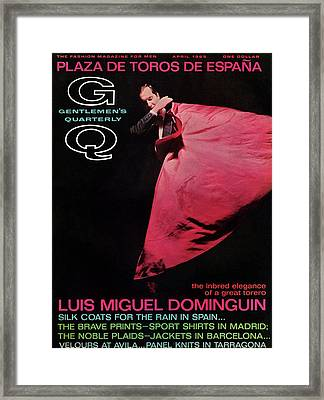Gq Cover Featuring Miguel Dominguin Framed Print by Carl Fischer