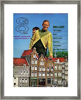Gq Cover Featuring Models Superimposed Framed Print by Richard Waite