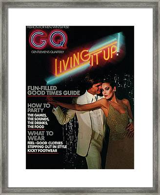 Gq Cover Of A Couple In Disco Setting Framed Print by Chris Von Wangenheim
