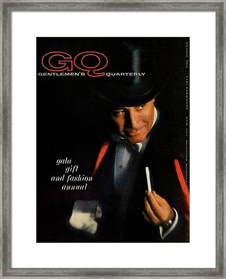 Gq Cover Of A Model Wearing Top Hat And Tailcoat Framed Print