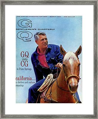 Gq Cover Of Actor Carey Grant Horseback Riding Framed Print by Hal Adams