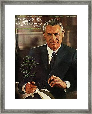 Gq Cover Of Actor Carey Grant Wearing Suit Framed Print by Chadwick Hall