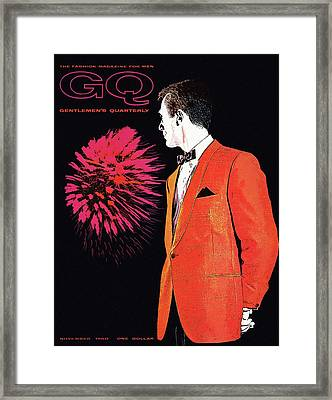 Gq Cover Of An Illustration Of A Man Wearing An Framed Print by Leon Kuzmanoff