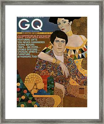 Gq Cover Of An Illustration Of An Couple Framed Print by Richard Amsel