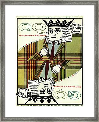 Gq Cover Of An Illustration Of King Playing Card Framed Print by Greenberg & Smith