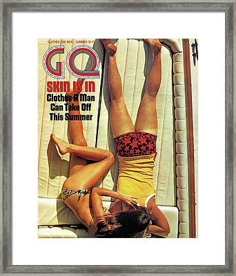 Gq Cover Of Couple Lying Face Down On Boat Deck Framed Print