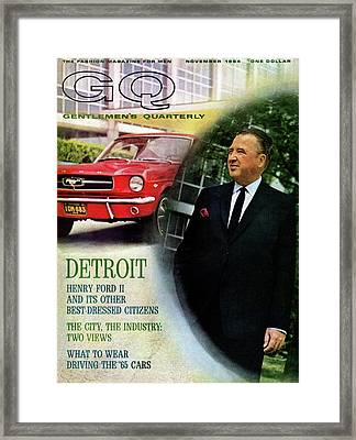 Gq Cover Of Henry Ford II And 1965 Ford Mustang Framed Print by Richard Nones