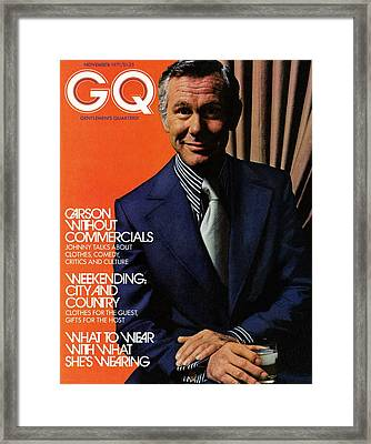 Gq Cover Of Johnny Carson Wearing Suit Framed Print