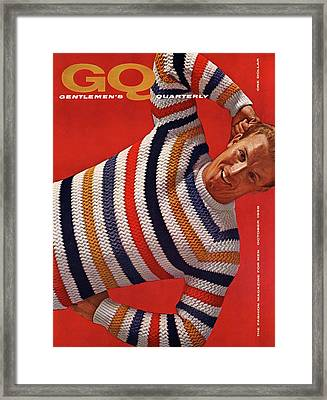 Gq Cover Of Man Wearing Striped Sweater Framed Print by Leonard Nones