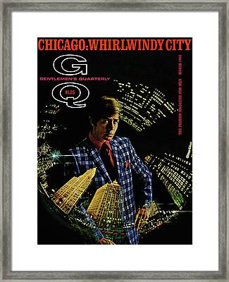 Gq Cover Of Model Wearing A Louis Roth Jacket Framed Print by Leonard Nones