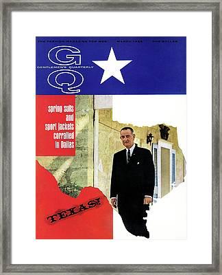 Gq Cover Of President Lyndon B. Johnson Framed Print by Leonard Nones