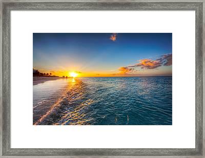 Grace Bay Beach Sunset Framed Print by Jo Ann Snover