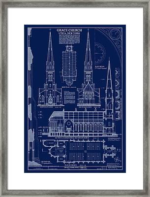 Grace Church Blueprint Framed Print by Daniel Hagerman