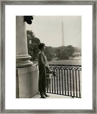 Grace Coolidge By The Washington Monument Framed Print by Nickolas Muray