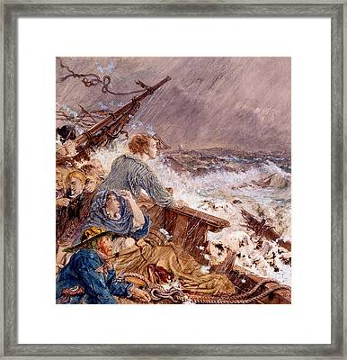 Grace Darling And Her Father Saving Framed Print