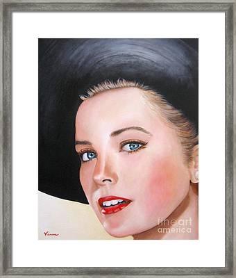 Grace Kelly In A Black Hat Framed Print by Venus