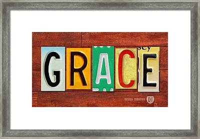 Grace License Plate Name Sign Fun Kid Room Decor. Framed Print