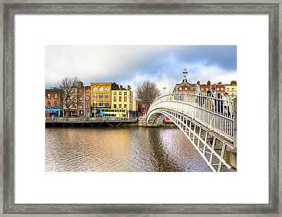 Graceful Ha'penny Bridge Over River Liffey Framed Print by Mark E Tisdale
