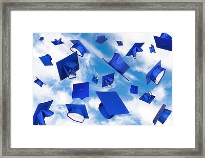 Graduation Caps In Flight Framed Print