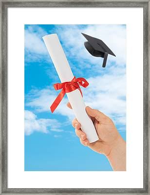 Graduation Scoll And Cap Framed Print by Amanda Elwell