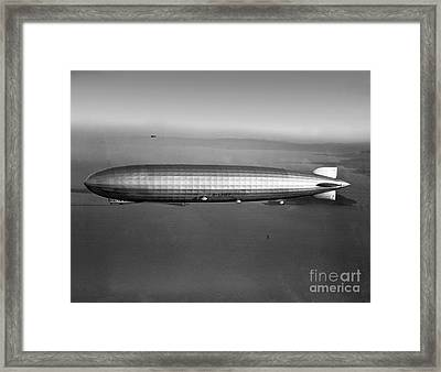 Graf Zeppelin Flying Over Downtown San Francisco Round The World Framed Print by Wernher Krutein