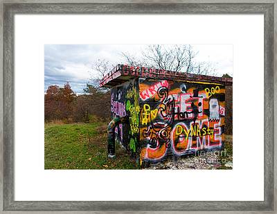 Graffiti Covered Building In Field Framed Print by Amy Cicconi