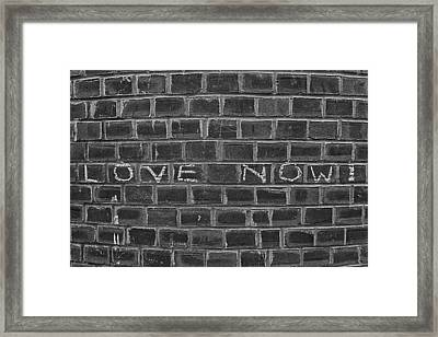 Graffiti On Curved Brick Wall Framed Print by Robert Ullmann
