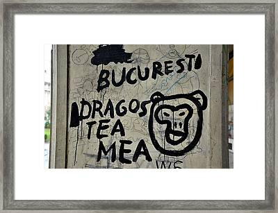 Framed Print featuring the photograph Graffiti On Street From Bucharest Romania by Imran Ahmed