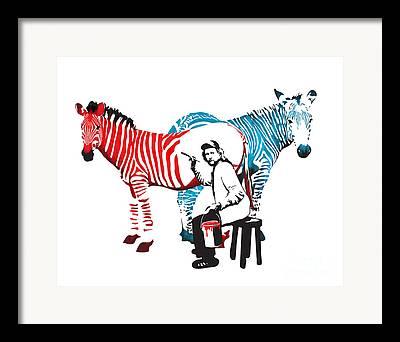 White Horses Digital Art Framed Prints