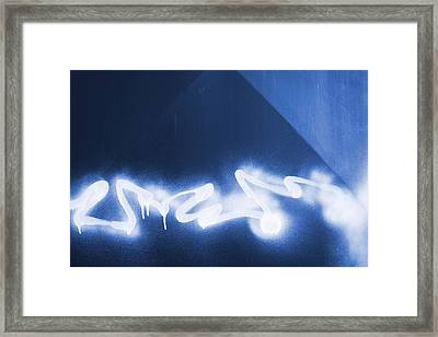 Graffiti Spray Blue Framed Print